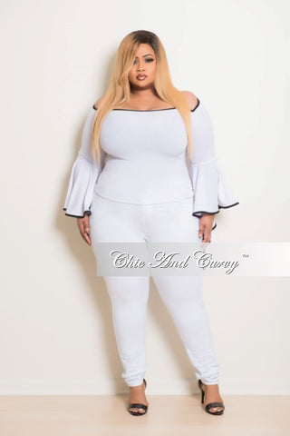 Final Sale Plus Size Top in White with Black Trim