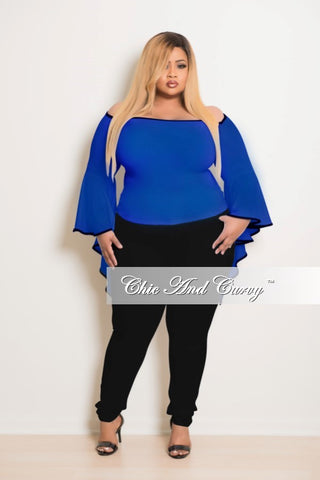50% Off Sale - Final Sale Plus Size Top in Blue With Black Trim