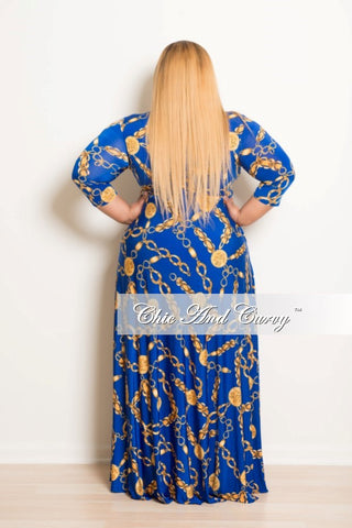 New Plus Size Long Dress with 3/4 Sleeve, Side Pockets, and Tie in Blue Chain Print