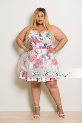 New Plus Size Skater Dress in Pink Floral Print