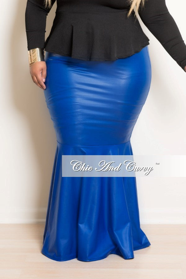 sale plus size liquid mermaid skirt in royal blue