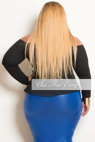 New Plus Size Spaghetti Strap Off the Shoulder Peplum Top in Black