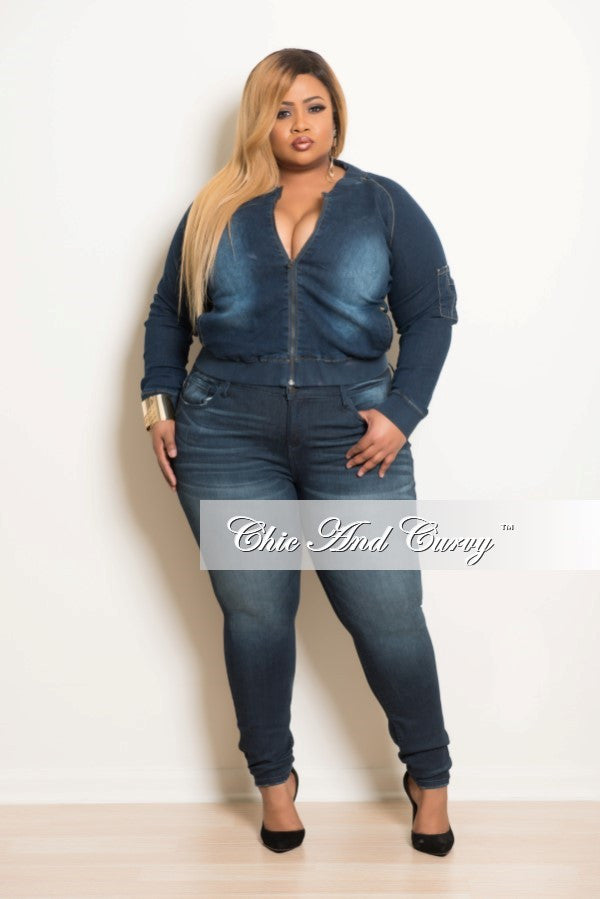 New Plus Size Bomber Jacket in Denim