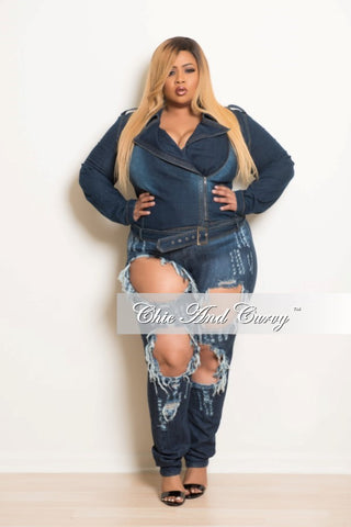 New Plus Size Denim Jacket with Side Zipper and Belt