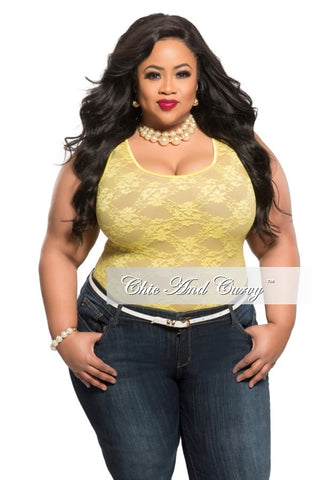 Final Sale Plus Size Lace Top in Yellow