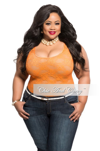 Final Sale Plus Size Lace Top in Orange
