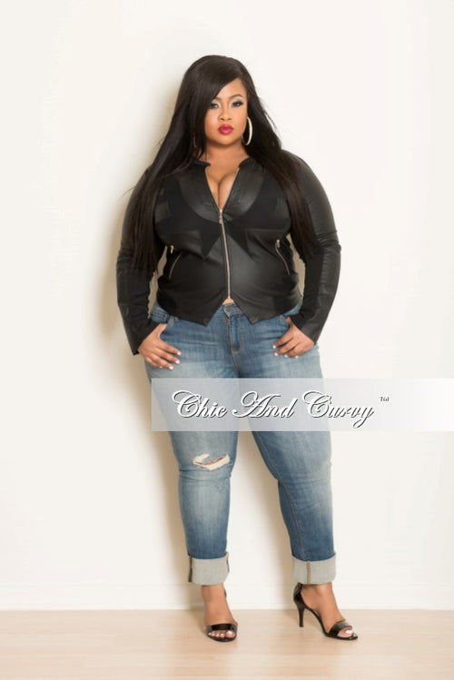 Final Sale Plus Size Faux Leather Zip Up Moto Jacket with Mesh Black & Gold Zipper