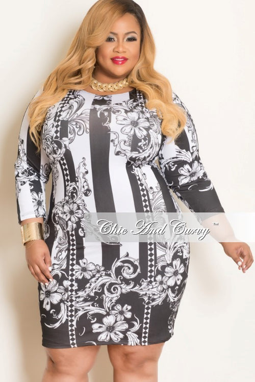Final Sale Plus Size BodyCon in White & Black Floral Print