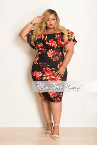 Final Sale Plus Size Dress w/ Ruffle Sleeves in Black, Red & Orange Floral Print