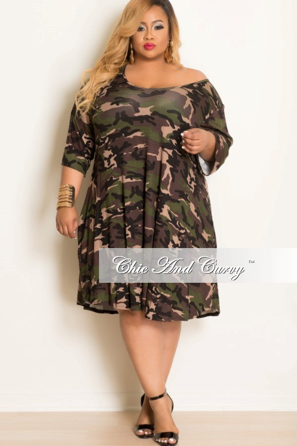 50% off sale - final sale plus size dress with 3/4 sleeves in