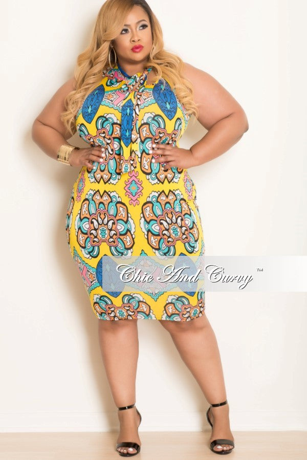 New Plus Size Sleeveless BodyCon w/ Neck Tie in  Yellow, Orange and Pink Print