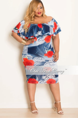 New Plus Size Floral Off The Shoulder Ruffle Sleeve in Dress Blue Multi