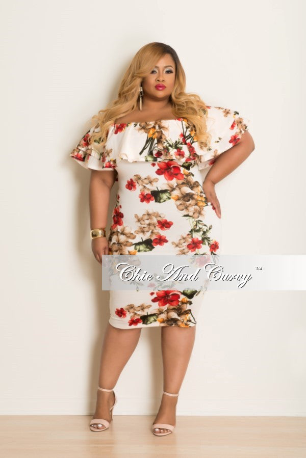 New Plus Size Dress w/ Ruffle Sleeves in Cream, Orange & Red ...
