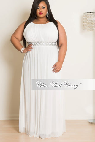 Final Sale Plus Size Sleeveless Gown with Rhinestone Belt at Waist White
