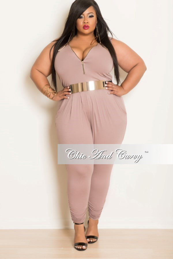 Final Sale Plus Size Sleeveless Jumpsuit with Front Zipper In Mocha/ Dark Mauve