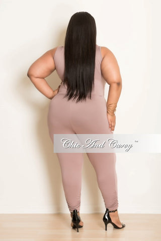 New Plus Size Sleeveless Jumpsuit with Front Zipper In Mauve