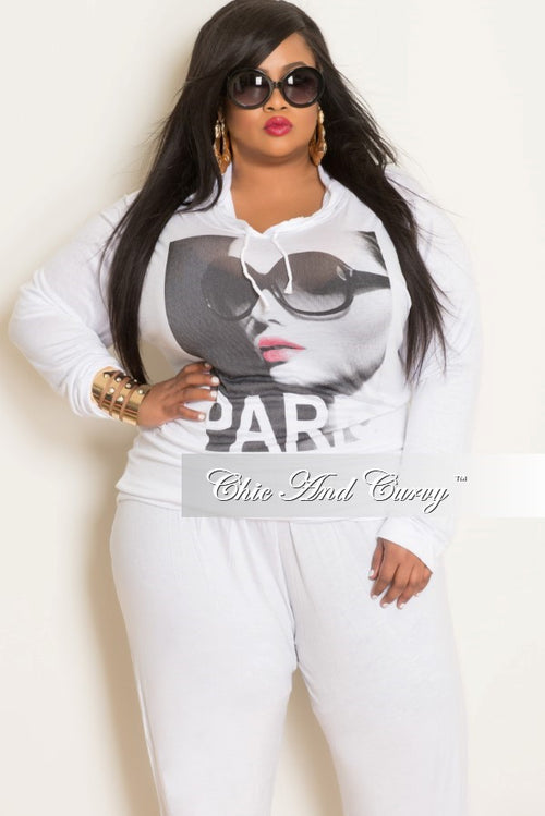 Final Sale Plus Size Long Sleeve Hooded Top in White