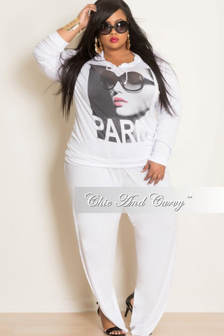 Final Sale Plus Size Harem Pants with Side Slit in White