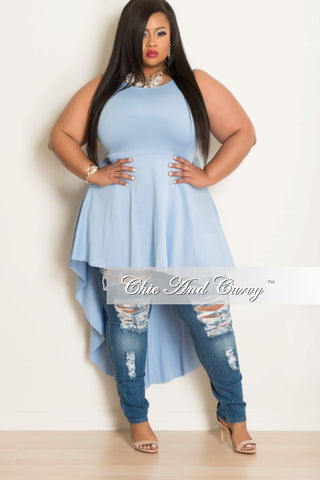 New Plus Size Sleeveless High Low Dress/ Top in Light Blue