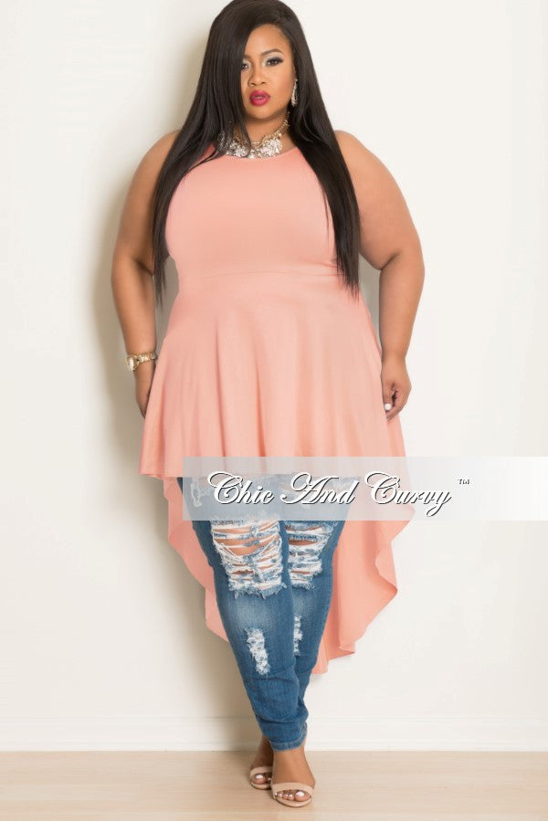 New Plus Size Sleeveless High Low Dress/ Top in Peach