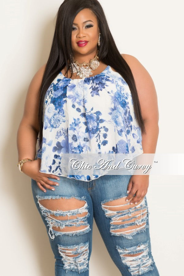 Final Sale Plus Size Floral Top with Spaghetti Straps Light Blue & White