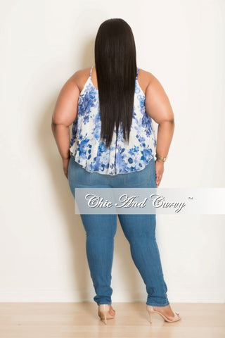 New Plus Size Floral Top with Spaghetti Straps Light Blue & White
