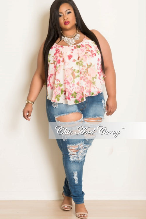 New Plus Size Floral Top with Spaghetti Straps Pink, White & Green