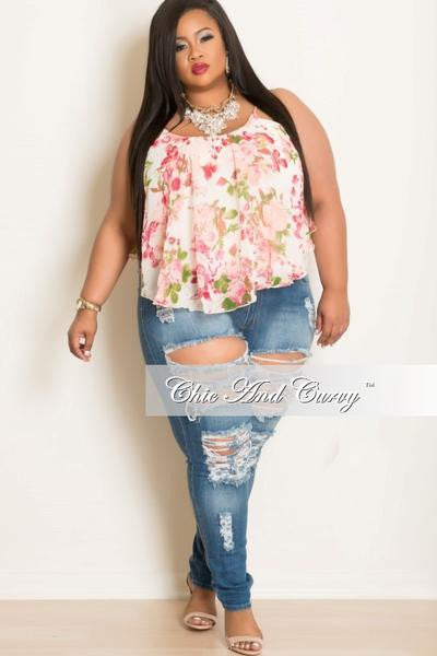 New Plus Size Distressed Jeans in Blue Denim