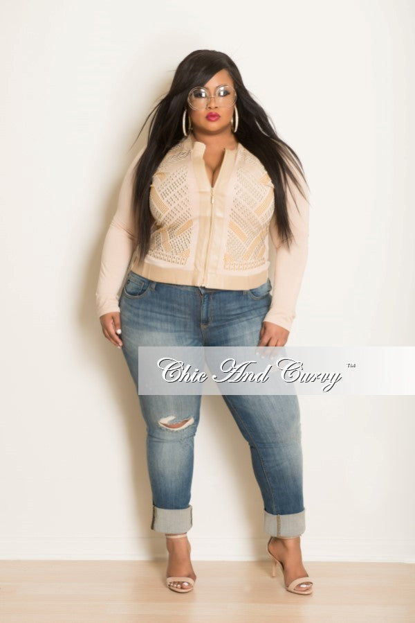 New Plus Size Jacket with Studs in Beige