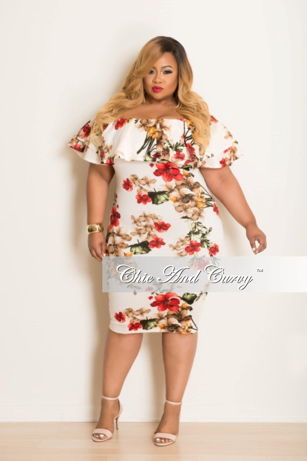 New Plus Size Dress w/ Ruffle Sleeves in Cream, Orange & Red Floral Print