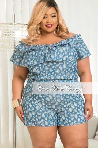 New Plus Size Off The Shoulder Romper in Light Denim & White Print