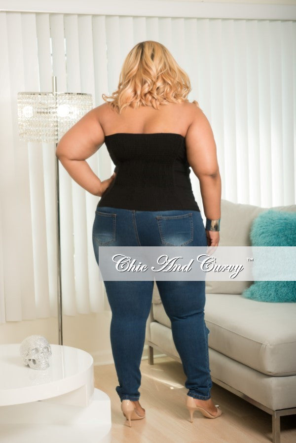 Final Sale Plus Size Corset Top in Black with Silver Hook and Eye Detail