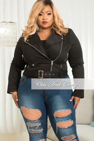 New Plus Size Motorcycle Jacket with Attached Belt in Black
