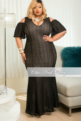 Final Sale Plus Size Zig Zag Gown with Open Shoulders in Black Sparkle Fabric