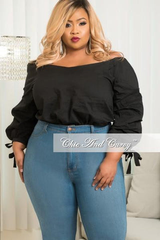 New Plus Size Off the Shoulder Peasant Top in Black