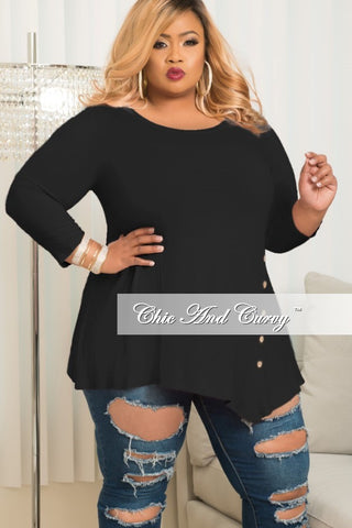New Plus Size Long Sleeve Top with Side Button in Black