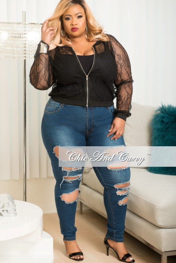 New Plus Size Ripped Denim Jeans