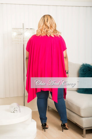 New Plus Size Distressed Top In Magenta