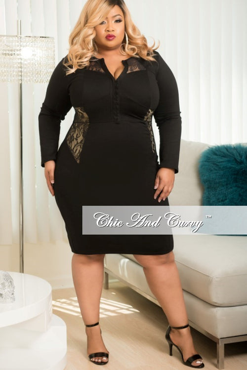 Final Sale Plus Size Long Sleeve BodyCon with Lace Sides in Black