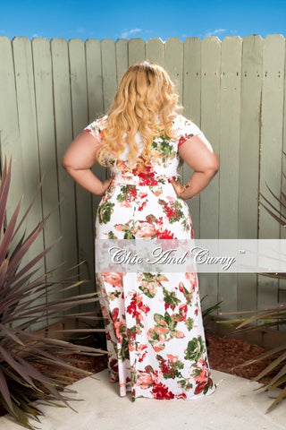 Final Sale Plus Size Short Sleeve Faux Wrap Dress In White and Burgundy Floral Print