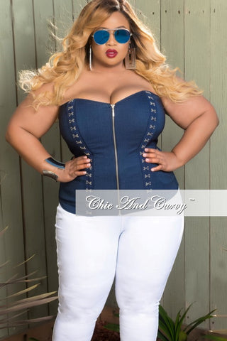 Final Sale Plus Size Corset Top in Dark Faux Denim with Silver Hook and Eye Detail
