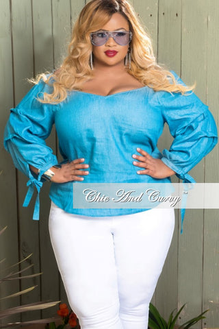 New Plus Size Off the Shoulder Peasant Top in Light Denim Color