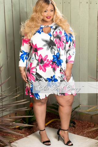 Final Sale Size Long Sleeve Dress with Front Key Hole In White, Pink and Blue Floral Print