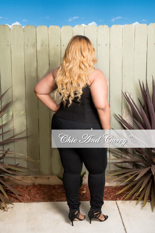Final Sale Plus Size Corset Top in Black with Lace-Ups with Silver Grommets