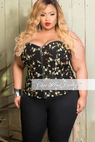 New Plus Chain Print Bodysuit in Black Floral Print