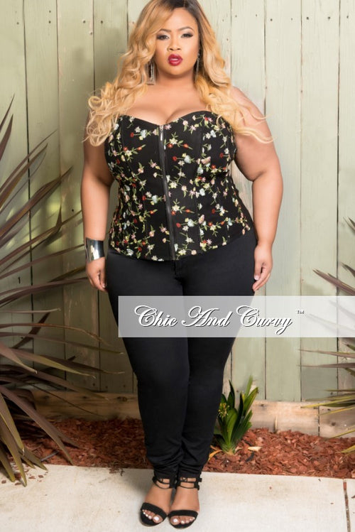 Final Sale Plus Size Corset in Black and Floral Embroidered Mesh