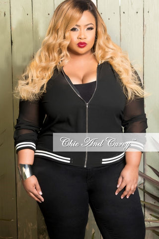 Final Sale Plus Size 2-Piece Hooded Zip-Up Jacket and Pants Set in Black