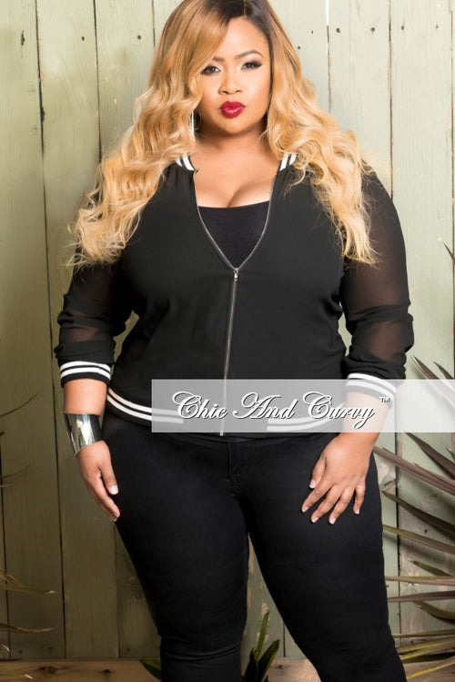New Plus Size Sheer Baseball Jacket in Black