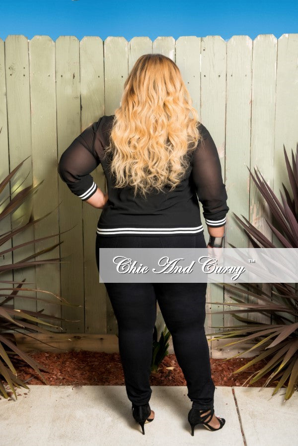 Final Sale Plus Size Sheer Baseball Jacket in Black