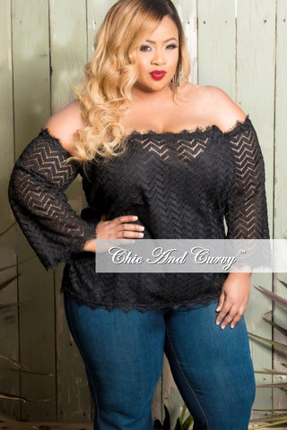 New Plus Size Off The Shoulder Knit Top in Black